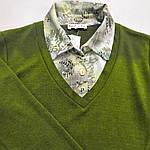 Свитер рубашка тёплый зеленый трикотаж  221291 джемпер, фото 5