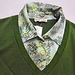 Свитер рубашка тёплый зеленый трикотаж  221291 джемпер, фото 4