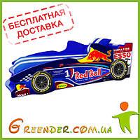 Детская кровать машина Formula 1 синяя (комплект с матрасом входит в стоимость, доставка бесплатная!)