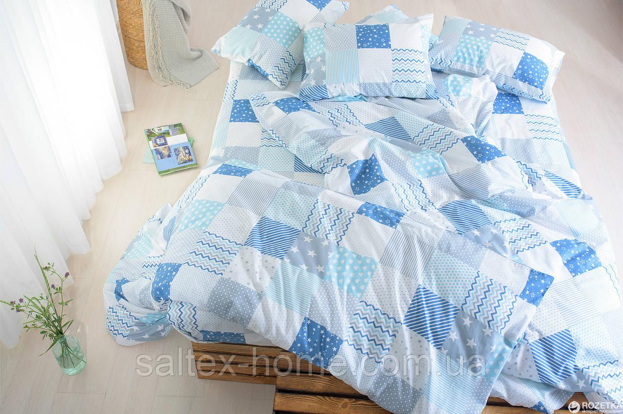 Ткань для постельного белья, бязь набивная, ЛОСКУТКИ бирюзовый, желтый, серый