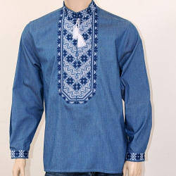Вышиванка мужская джинсовая Николай бело- синий