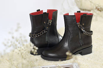Кожаные ботинки с цепью Atomio Lardini