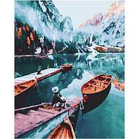 Картина по номерам. Лодки в чарующем озере