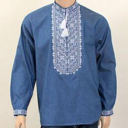 Вышиванка мужская джинсовая Николай белый