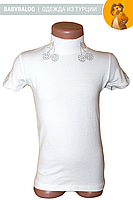 Белая водолазка для девочки с коротким рукавом вишенка (от 5 до 8 лет)