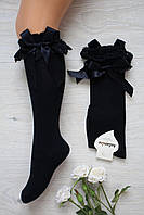 Гольфы черные нарядные с бантом для девочки 5-6 лет Katamino