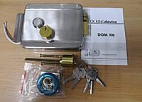 Замок накладной электромеханический DOM K-6 нержавеющая сталь 6 английских ключей