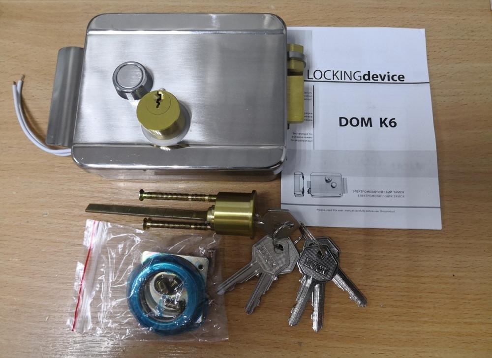 Замок накладний електромеханічний DOM K-6 нержавіюча сталь 6 англійських ключів