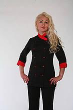 Костюм кухаря 22116 чорний з червоним 42-56р. жіночий батист 56