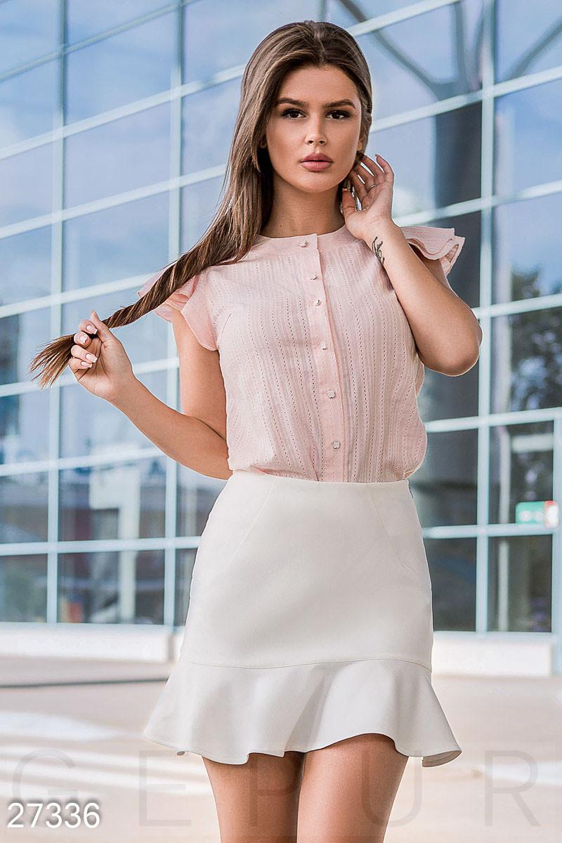 Летняя блуза с крылышками на рукавах розовая