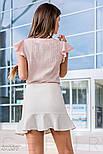 Летняя блуза с крылышками на рукавах розовая, фото 3