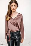 Шовкова блуза на запах темно-бежева, фото 2