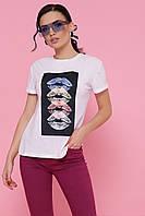 Белая женская футболка с принтом, фото 1