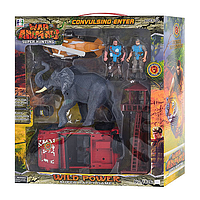 Набор спасателей фигурки (слон, спасатели, транспорт инертный) Metr+ 1826-3 A | минифигурки