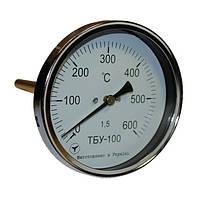 Термометр биметаллический осевой ТБУ-100/100, к.т. 1,5 (от 0 до +600 °С)