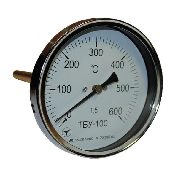 Термометр биметаллический осевой ТБУ-100/100, к.т. 1,5 (от 0 до +500 °С)