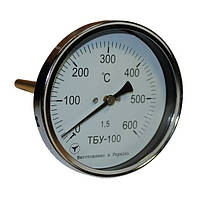 Термометр биметаллический осевой ТБУ-63/150, к.т. 1,5 (от 0 до +400 °С)