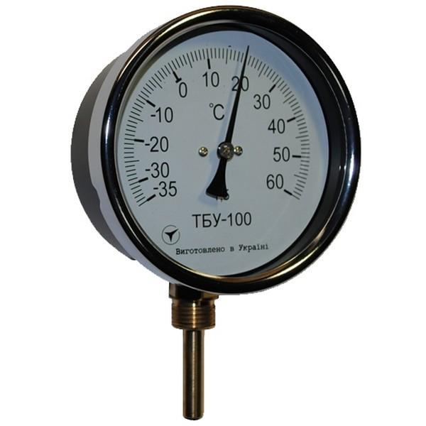 Термометр биметаллический радиальный ТБУ-63/100, к.т. 1,5 (от 0 до +600 °С)