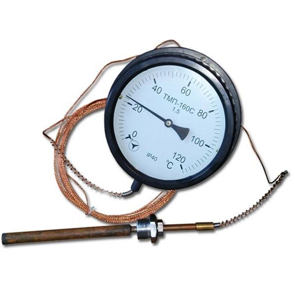 Термометр манометрический показывающий ТМП-160 6м к.т 1,5 (от 0 до +120 °С)