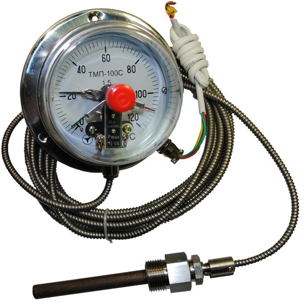 Термометр капиллярный электроконтактный ТМП-100С 4м, 6м к.т 1,5 (от 0 до +200 °С)