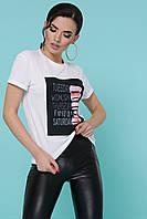 Белая женская футболка с принтом из вискозы, фото 1
