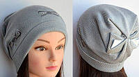 Женская шапка Arctic с бантом сзади светло-серая