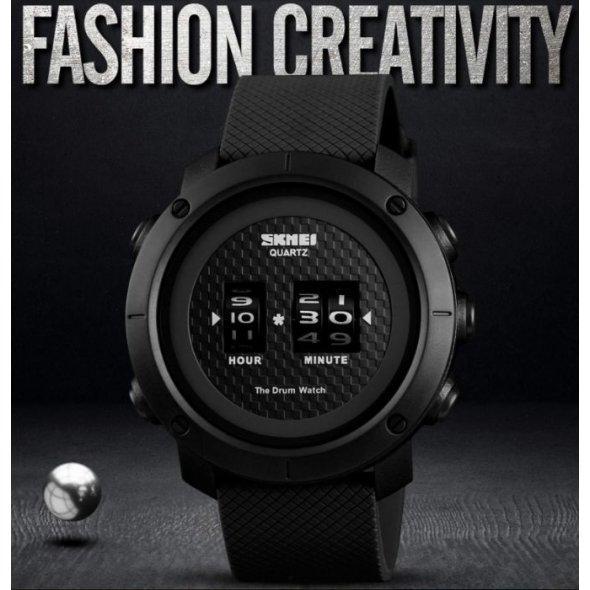 Чоловічі наручні годинники Skmei Drum Чорний