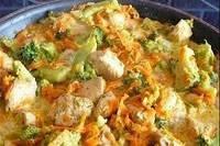 Тушеные овощи с соевым соусом в сметане