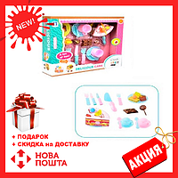"""Детский игровой набор """"Продукты"""" LKE16A3, торт на липучке, посуда, чайный сервиз, столовые приборы"""