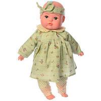 Пупс игрушечный в зеленой одежде M 3886 UA LIMO TOY мягконабивной,музыкально-звуковой   люлька - переноска