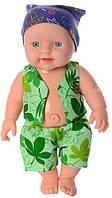 Пупс игрушечный в зеленой одежде и бандане 318-N   детская куколка   пупсик