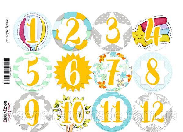 Наклейки паперові - 12 місяців - Fabrika Decoru - 21х16 - 12 шт.
