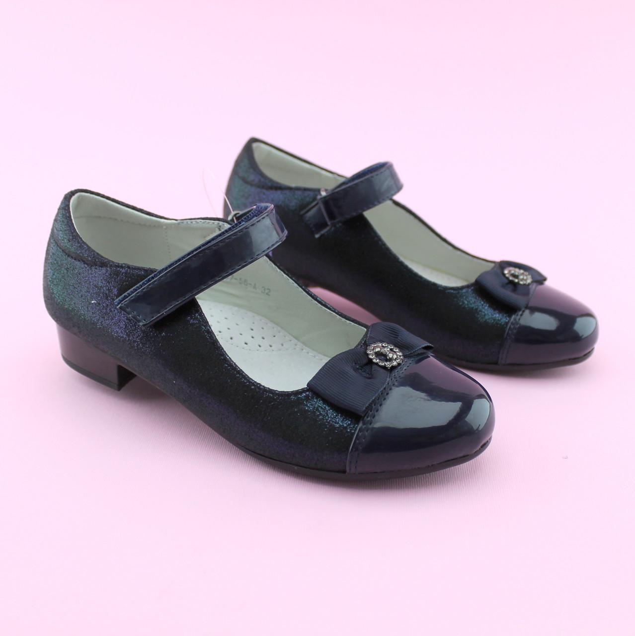 Туфли для девочки Синие с каблучком тм Том.М размер 33,35,37