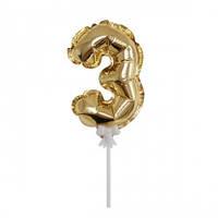 Самонадувающаяся цифра 3 золото на палочке