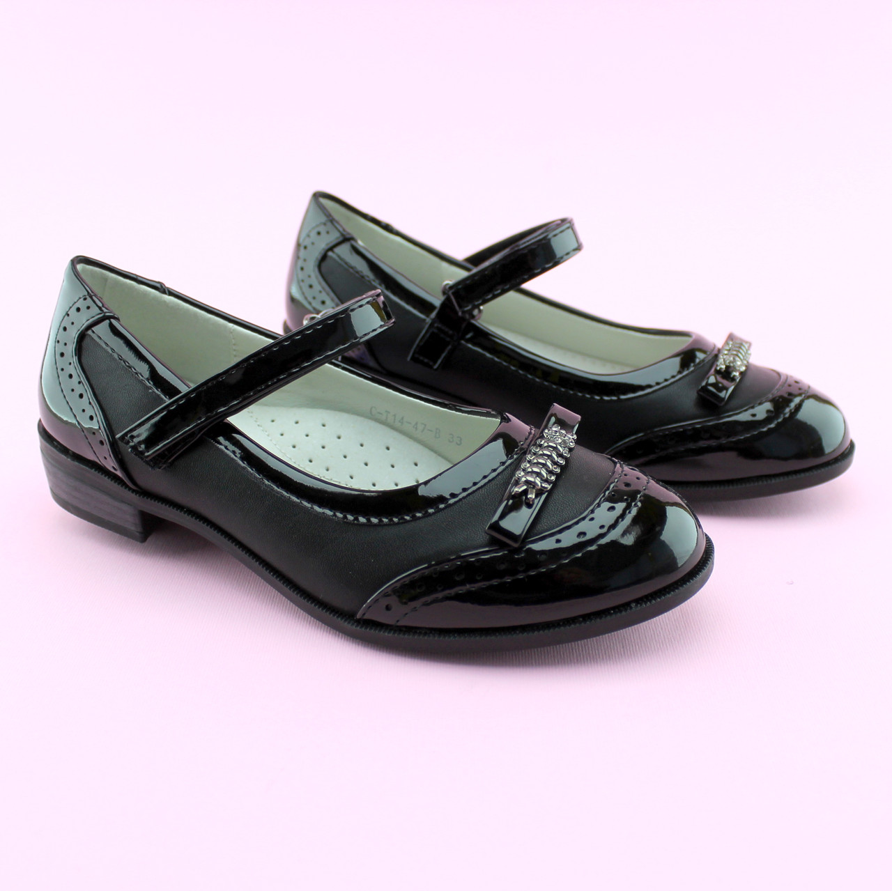 Туфли для девочки Черные Бантик тм Том.М размер 33,35,36,37,38