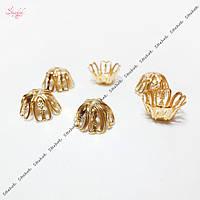 Филигранные шапочки для бусин 12 мм золото для рукоделия