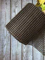 Шина (имитация страз) 12 см, 10 ярд чёрного цвета