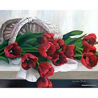 Картины по номерам / обложка. Тюльпаны в корзинке 40х50см арт. КНО2064