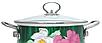 Эмалированная кастрюля с крышкой Benson BN-111 белая с цветочным декором (1,9 л)   кухонная посуда   кастрюли, фото 8