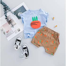 Летний костюм на мальчика  футбока +шорты  1-3 года Морковка голубой