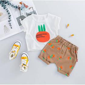 Летний костюм на мальчика  футбока +шорты  1-3 года Морковка белый