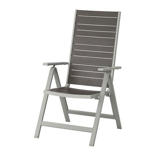 ИКЕА (IKEA) SJÄLLAND, 504.053.38, Садовое кресло/регулируемая спинка, светло-серый в сложенном виде,