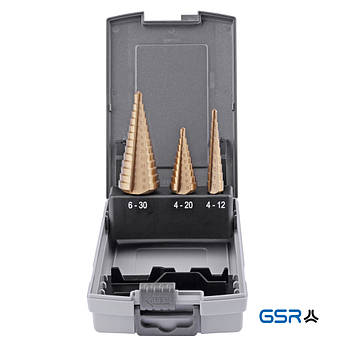 Набір ступ. свердл 4-12 4-20 6-30 mm, HSSE TiN  GSR Німеччина
