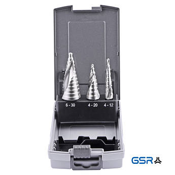 Набір ступ. свердл 4-12 4-20 6-30 mm, HSS-G, спіральне  GSR Німеччина