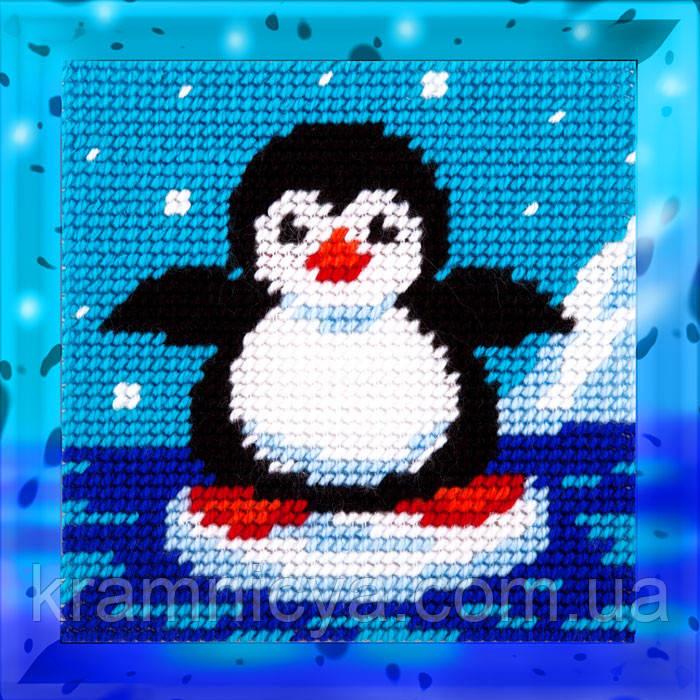 Пингвин. Набор для вышивания нитками на канве 15х15cм.