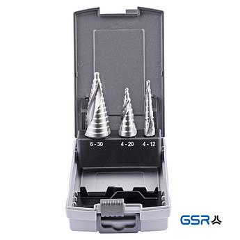 Набір ступ. свердл 4-12 4-20 6-30 mm, HSSE, спіральне  GSR Німеччина