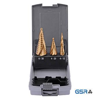 Набір ступ. свердл 4-12 4-20 6-30 mm, HSSE TiN, спіральне  GSR Німеччина