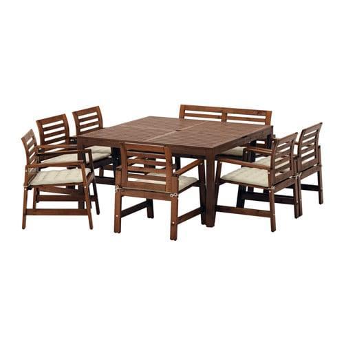 ИКЕА (IKEA) ЭПЛАРО, 992.898.51, Стол+6кресел+скамья,д/сада, коричневая морилка, Холло бежевый