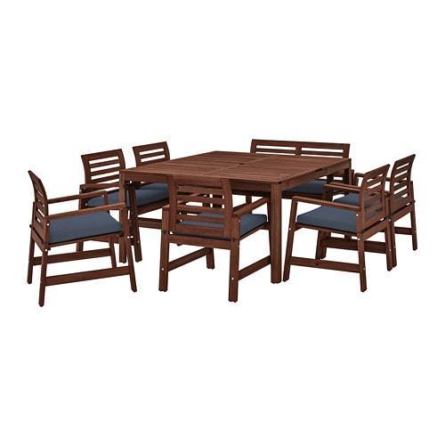 ИКЕА (IKEA) ЭПЛАРО, 492.921.39, Стол+6кресел+скамья,д/сада, коричневая морилка, Frösön / Duvholmen синий