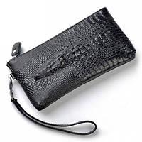 Мужской кошелек портмоне - клатч ALLIGATOR bag ZQ850 Черный | клатч аллигатор